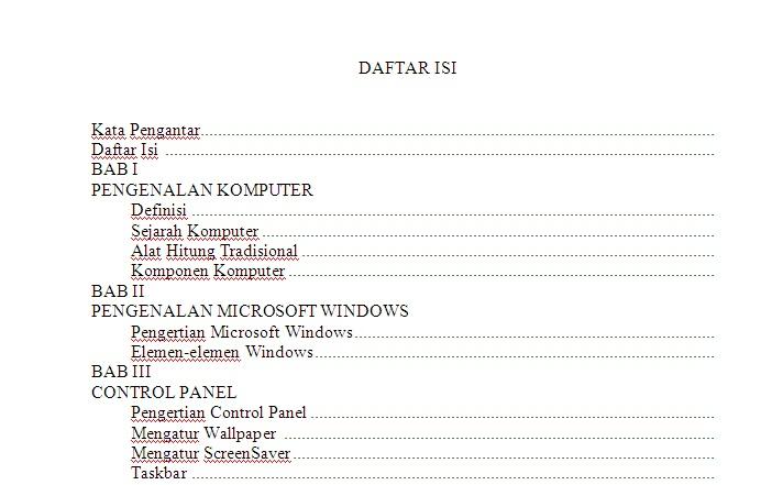Cara Membuat Daftar Isi Di Microsoft Word 2007   Oki Andriyanto
